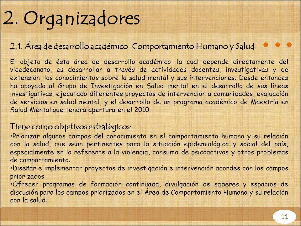 2. Organizadores 2.1. Área de desarrollo académico Comportamiento Humano y Salud El objeto de ésta área de desarrollo académico, la cual depende direc