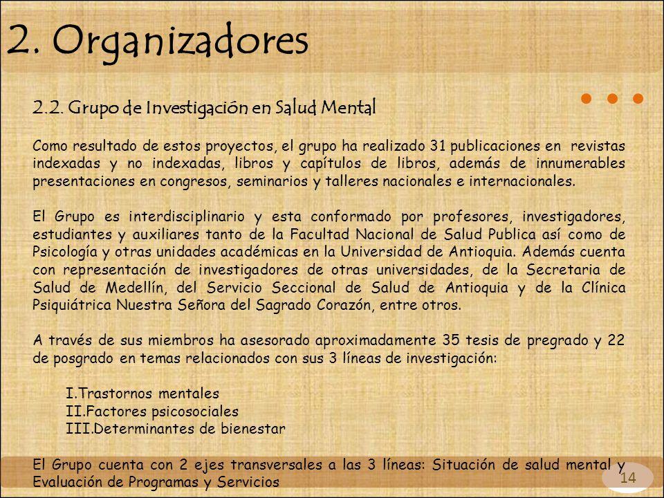 14 2. Organizadores 2.2. Grupo de Investigación en Salud Mental Como resultado de estos proyectos, el grupo ha realizado 31 publicaciones en revistas