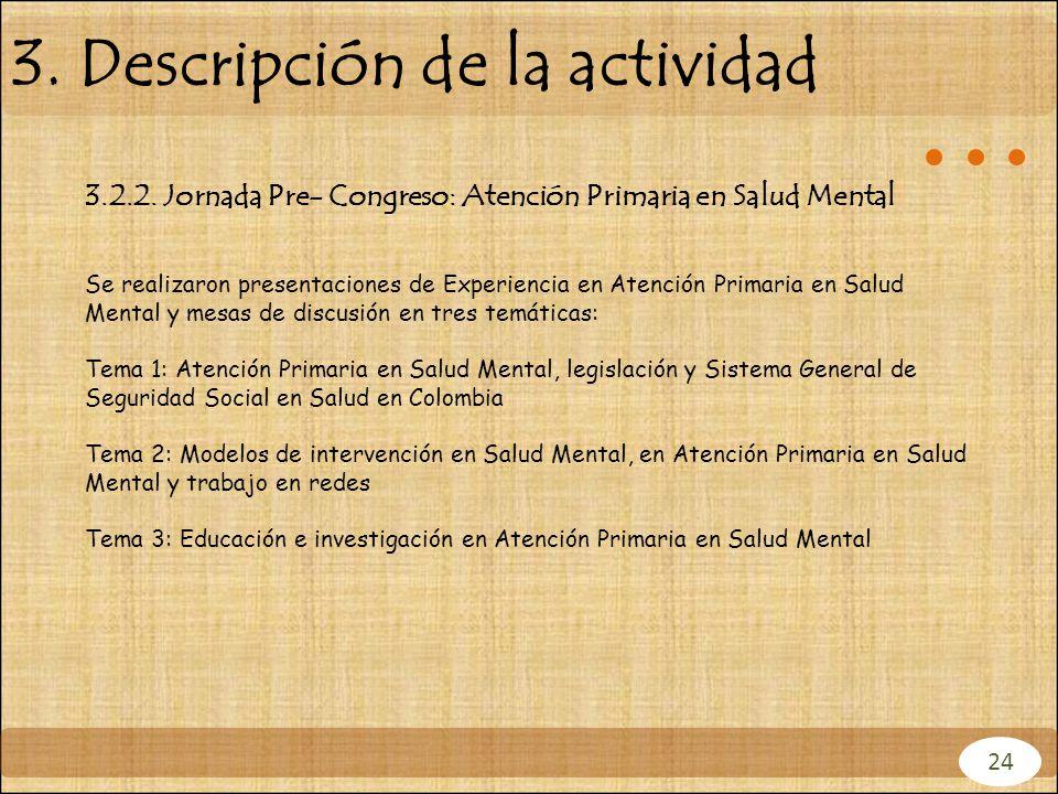 3. Descripción de la actividad 3.2.2. Jornada Pre- Congreso: Atención Primaria en Salud Mental Se realizaron presentaciones de Experiencia en Atención