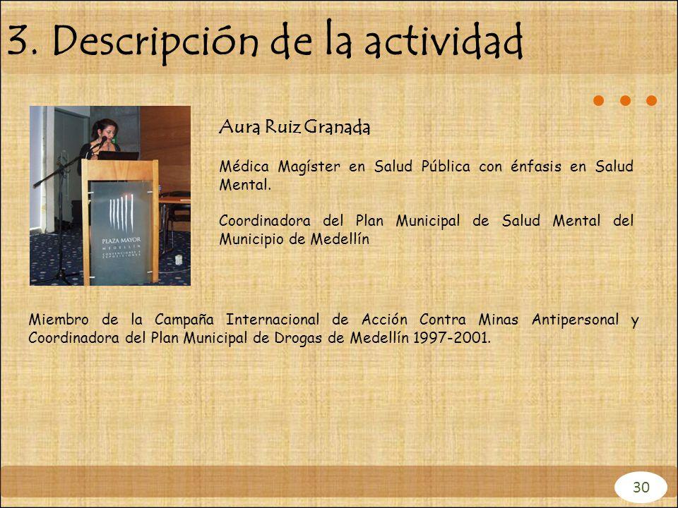 Aura Ruiz Granada Médica Magíster en Salud Pública con énfasis en Salud Mental. Coordinadora del Plan Municipal de Salud Mental del Municipio de Medel