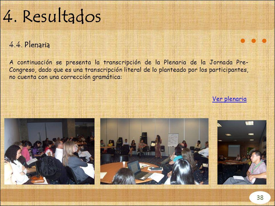 4.4. Plenaria A continuación se presenta la transcripción de la Plenaria de la Jornada Pre- Congreso, dado que es una transcripción literal de lo plan