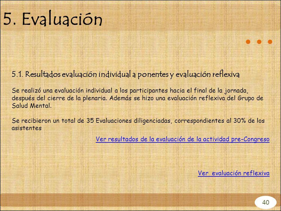 5.1. Resultados evaluación individual a ponentes y evaluación reflexiva Se realizó una evaluación individual a los participantes hacia el final de la