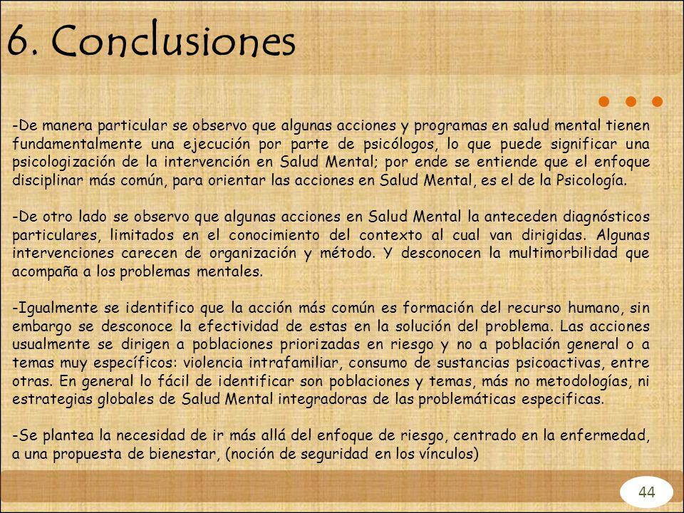 6. Conclusiones 44 -De manera particular se observo que algunas acciones y programas en salud mental tienen fundamentalmente una ejecución por parte d