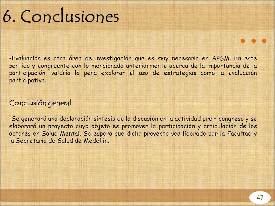 6. Conclusiones 47 -Evaluación es otra área de investigación que es muy necesaria en APSM. En este sentido y congruente con lo mencionado anteriorment