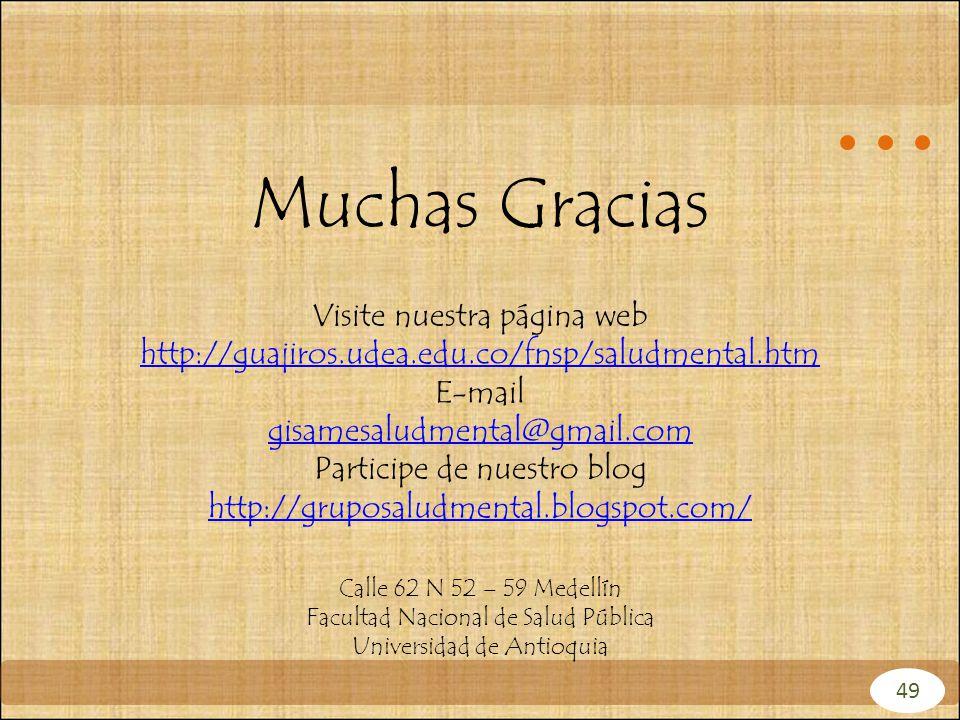 Muchas Gracias Visite nuestra página web http://guajiros.udea.edu.co/fnsp/saludmental.htm http://guajiros.udea.edu.co/fnsp/saludmental.htm E-mail gisa