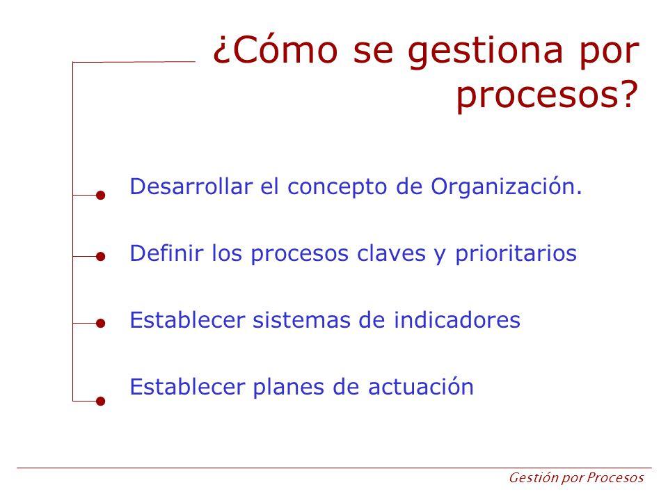 Gestión por Procesos ¿Cómo se gestiona por procesos? Desarrollar el concepto de Organización. Definir los procesos claves y prioritarios Establecer si