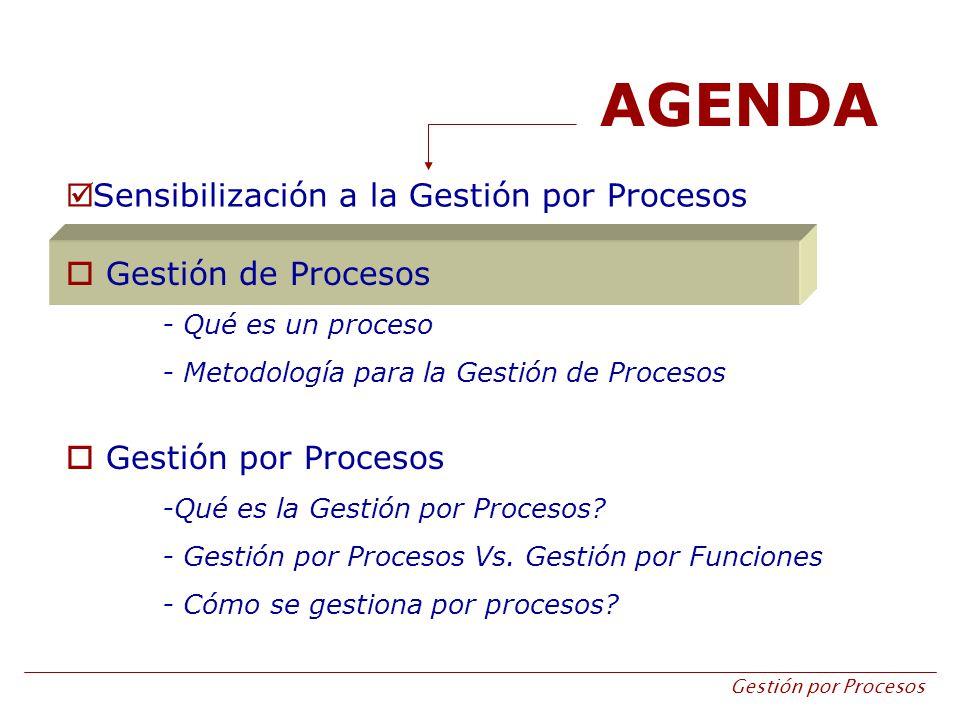 Gestión por Procesos Sensibilización a la Gestión por Procesos Gestión de Procesos - Qué es un proceso - Metodología para la Gestión de Procesos Gesti