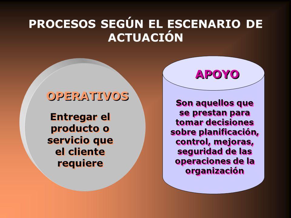 PROCESOS SEGÚN EL ESCENARIO DE ACTUACIÓN OPERATIVOS Entregar el producto o servicio que el cliente requiere Son aquellos que se prestan para tomar decisiones sobre planificación, control, mejoras, seguridad de las operaciones de la organización APOYO