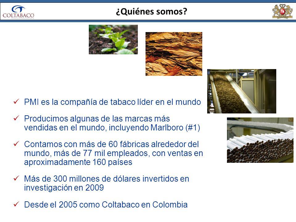 ¿Quiénes somos? PMI es la compañía de tabaco líder en el mundo Producimos algunas de las marcas más vendidas en el mundo, incluyendo Marlboro (#1) Con