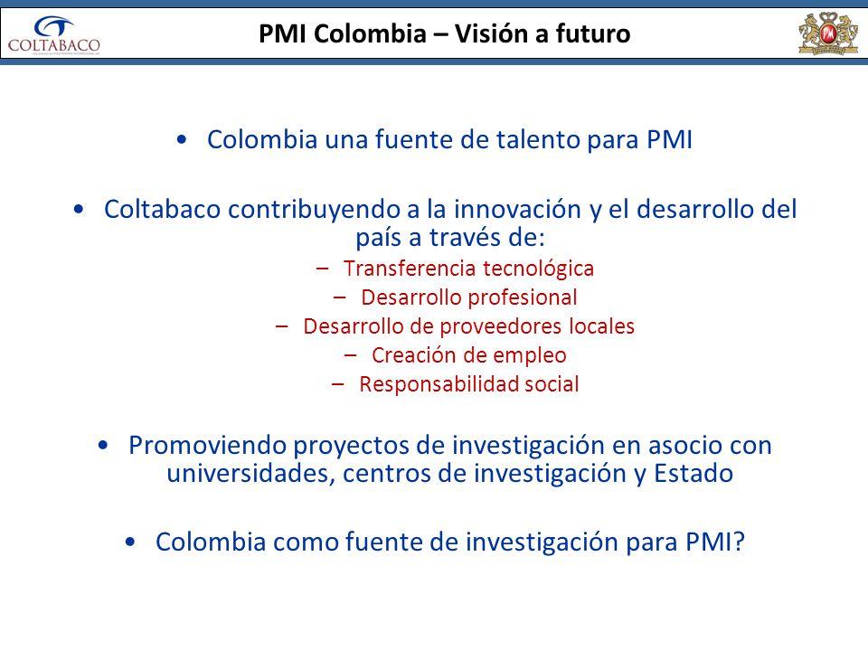 PMI Colombia – Visión a futuro Colombia una fuente de talento para PMI Coltabaco contribuyendo a la innovación y el desarrollo del país a través de: –
