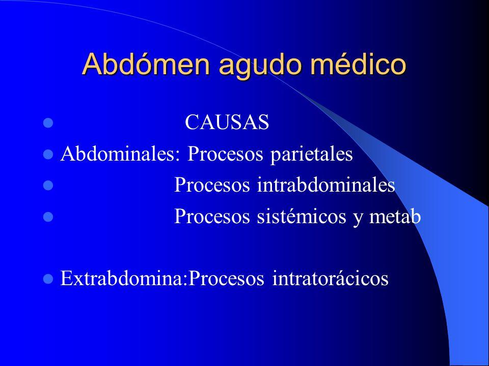 Abdómen agudo médico No todo abdómen agudo es quirúrgico Hay un abdómen agudo médico Descartar 1o. Un A.A.Q. El dx. De AAM es por exclusión Es tan per
