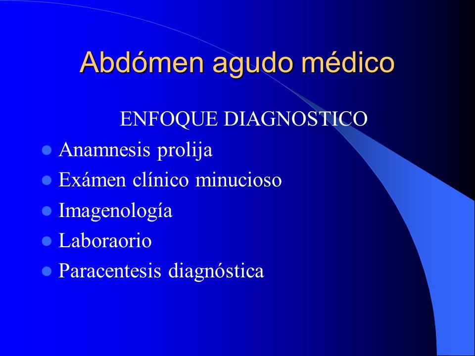 Abdómen agudo médico PAUTAS DIAGNOSTICAS- CLINICA Antecedente Síntomas Signos, ausencia de contractura y otros