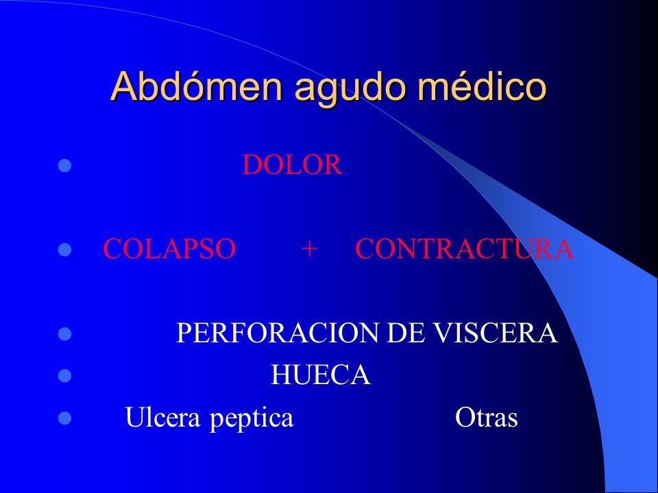 Abdómen agudo médico DOLOR + DISTENSION OBSTRUC. INTEST Vómito temprano Vómito tardío Alta + constipac Baja Cuidado: Uremia, porfiria, Intox. Plúmbica