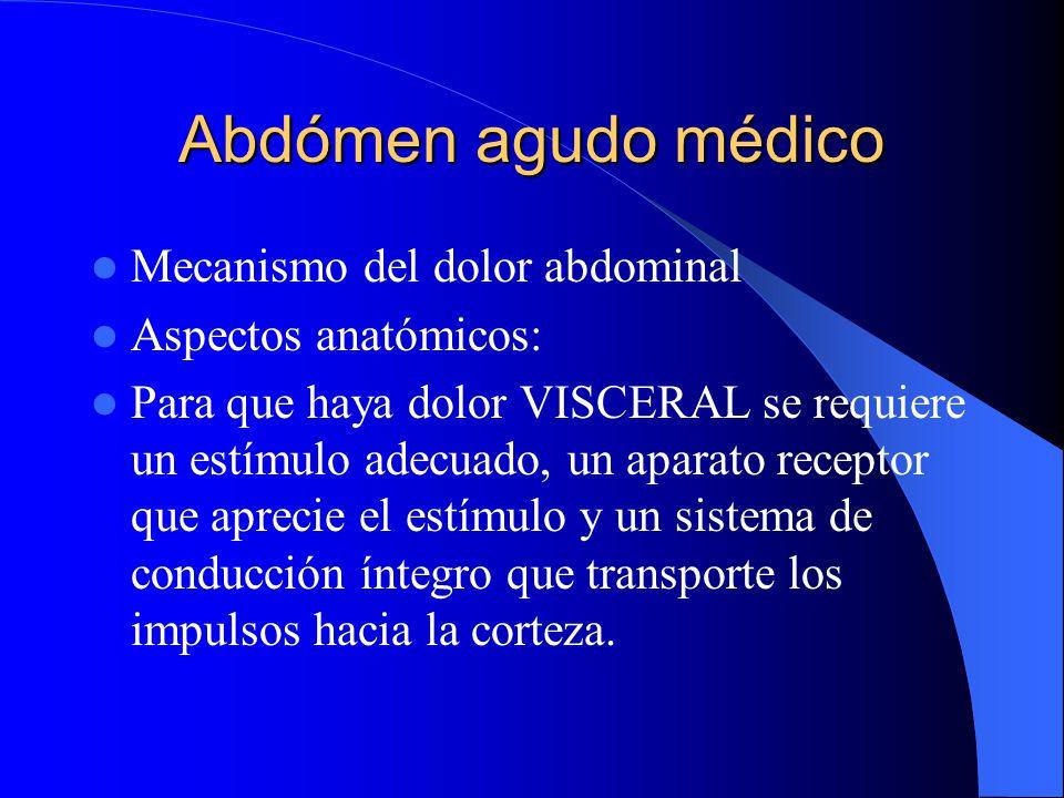 Abdómen agudo médico UMBRAL DEL DOLOR Es el momento en que un estímulo aplicado a la frente de un individuo con determinado calor, despierta la sensac