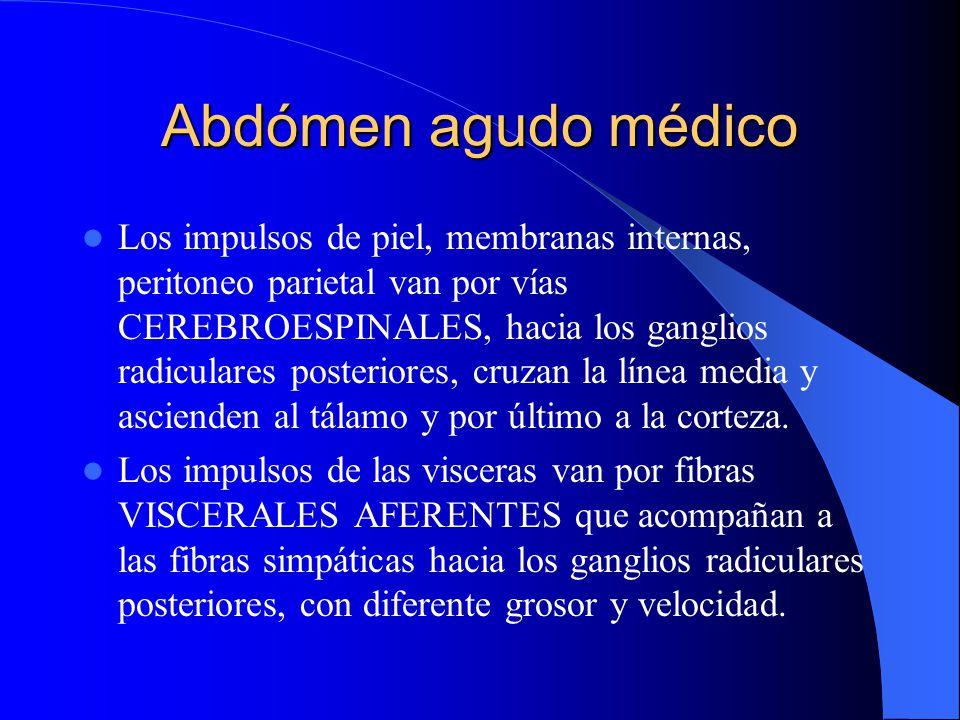 Abdómen agudo médico Mecanismo del dolor abdominal Aspectos anatómicos: Para que haya dolor VISCERAL se requiere un estímulo adecuado, un aparato rece
