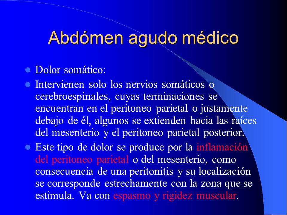 Abdómen agudo médico Dolor referido: Mediado por fibras viscerales aferentes y cerebroespinales, debido a la comunicación de vecindad de fibras viscer