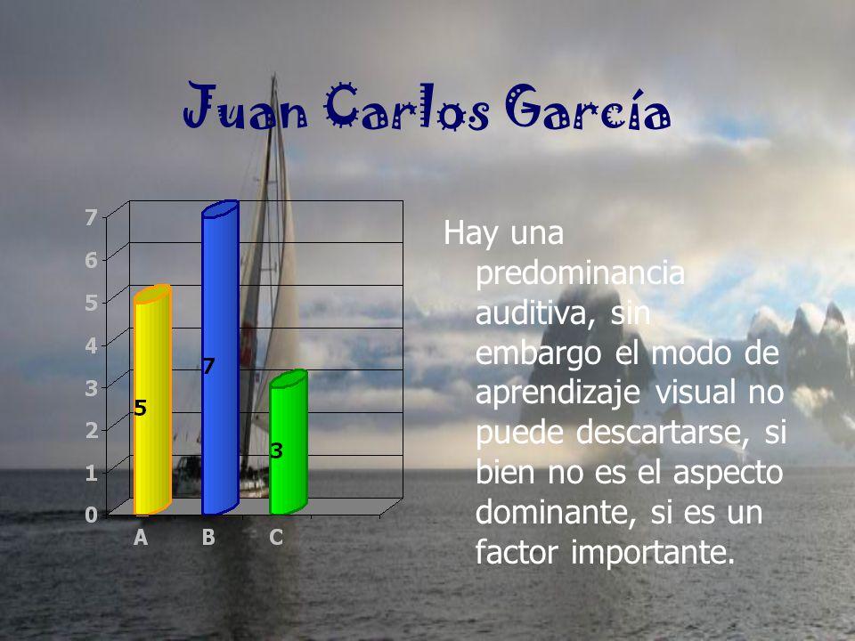 Juan Carlos García Hay una predominancia auditiva, sin embargo el modo de aprendizaje visual no puede descartarse, si bien no es el aspecto dominante,