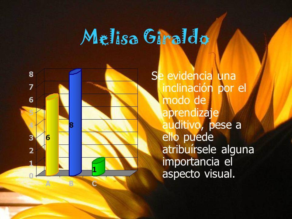 Melisa Giraldo Se evidencia una inclinación por el modo de aprendizaje auditivo, pese a ello puede atribuírsele alguna importancia el aspecto visual.