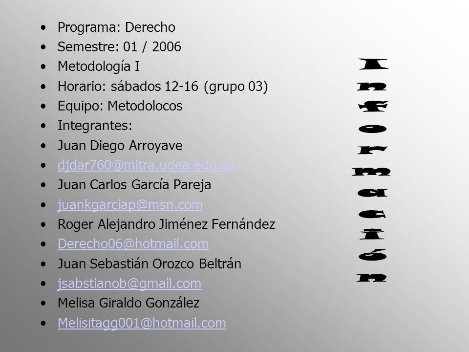 Programa: Derecho Semestre: 01 / 2006 Metodología I Horario: sábados 12-16 (grupo 03) Equipo: Metodolocos Integrantes: Juan Diego Arroyave djdar760@mi