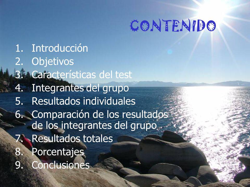CONTENIDO 1.Introducción 2.Objetivos 3.Características del test 4.Integrantes del grupo 5.Resultados individuales 6.Comparación de los resultados de los integrantes del grupo 7.Resultados totales 8.Porcentajes 9.Conclusiones
