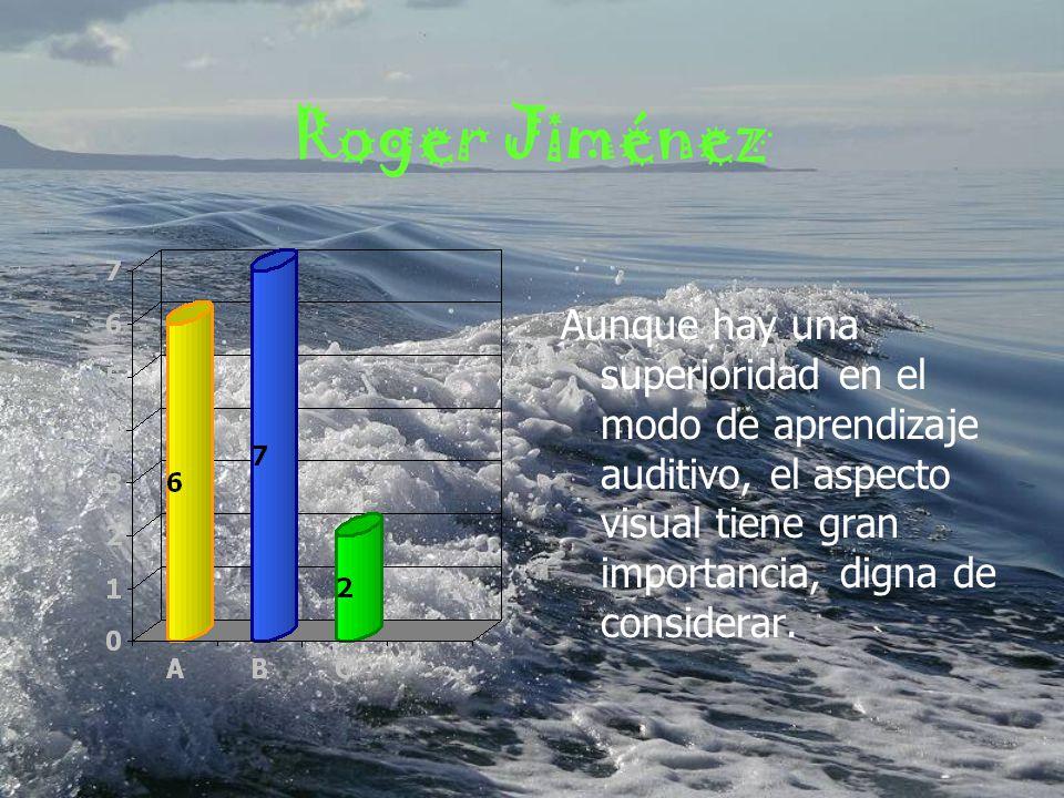 Juan Carlos García Hay una predominancia auditiva, sin embargo el modo de aprendizaje visual no puede descartarse, si bien no es el aspecto dominante, si es un factor importante.