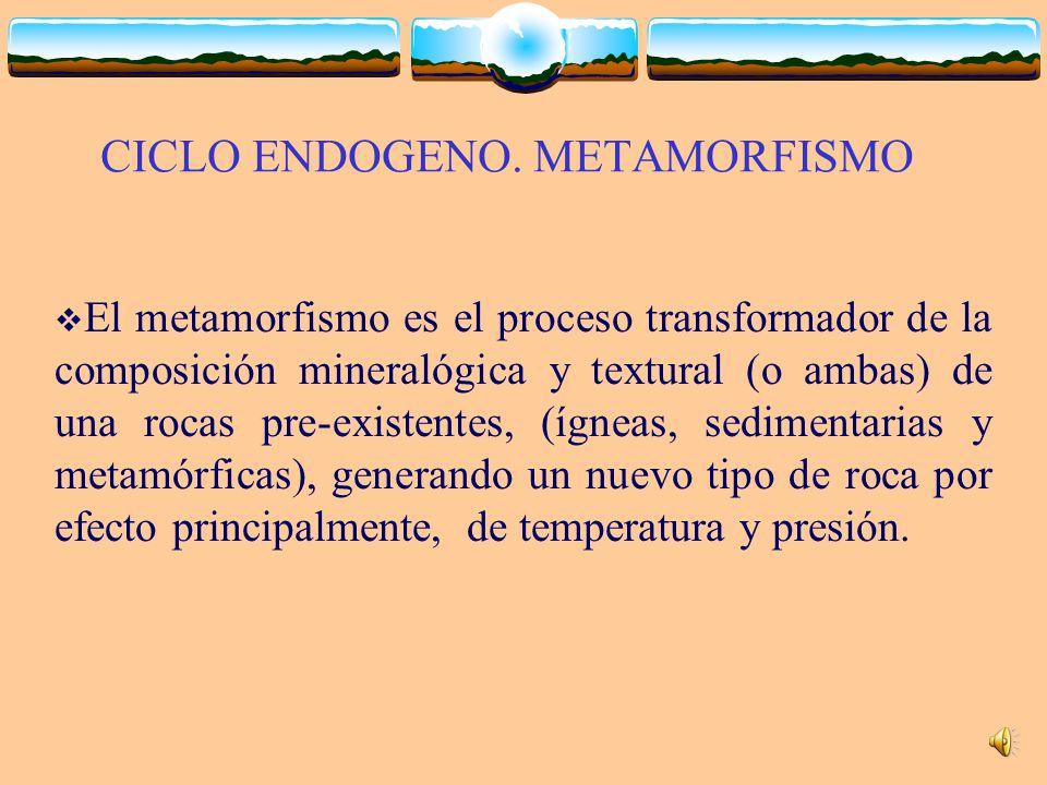 CICLO ENDOGENO. METAMORFISMO El metamorfismo es el proceso transformador de la composición mineralógica y textural (o ambas) de una rocas pre-existent