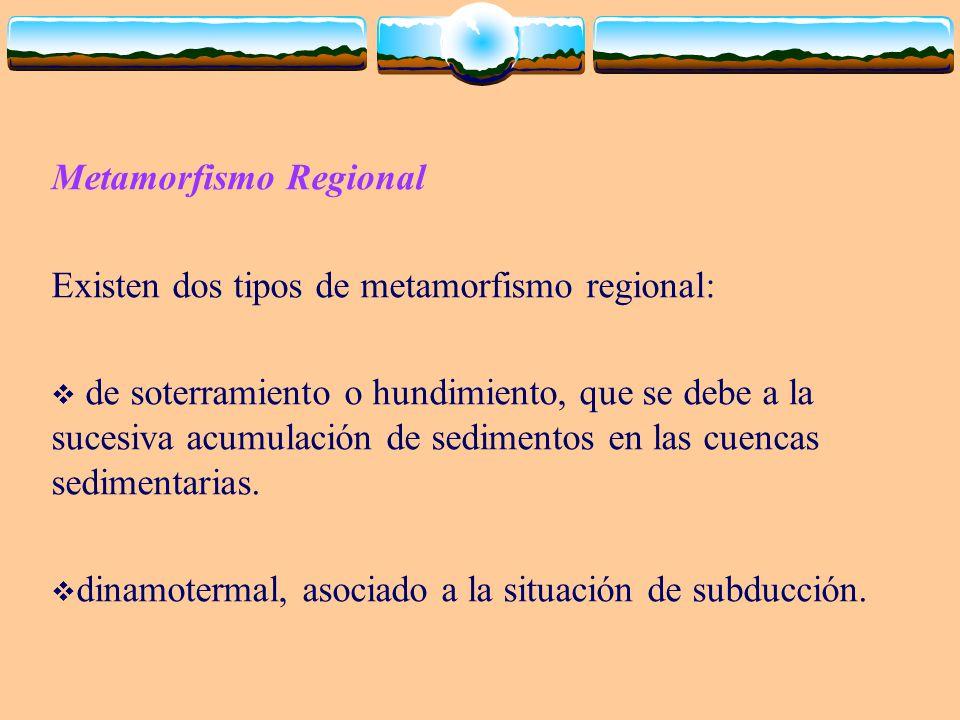 Metamorfismo Regional Existen dos tipos de metamorfismo regional: de soterramiento o hundimiento, que se debe a la sucesiva acumulación de sedimentos
