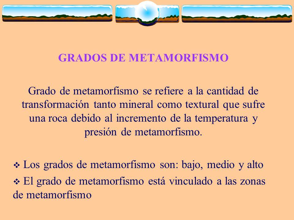 GRADOS DE METAMORFISMO Grado de metamorfismo se refiere a la cantidad de transformación tanto mineral como textural que sufre una roca debido al incre
