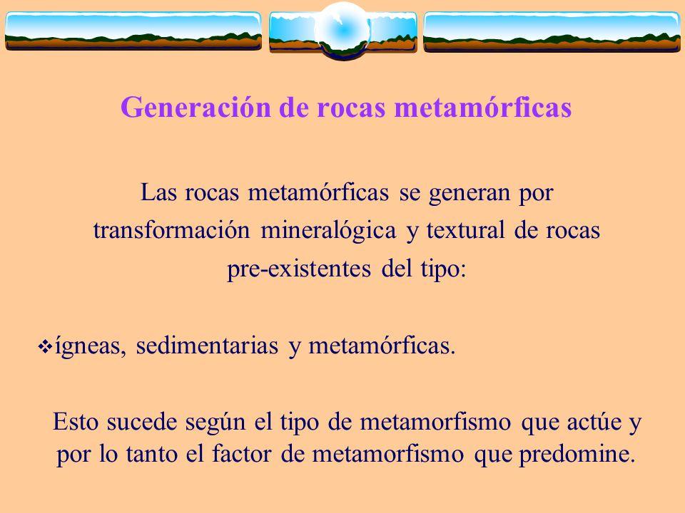 Generación de rocas metamórficas Las rocas metamórficas se generan por transformación mineralógica y textural de rocas pre-existentes del tipo: ígneas