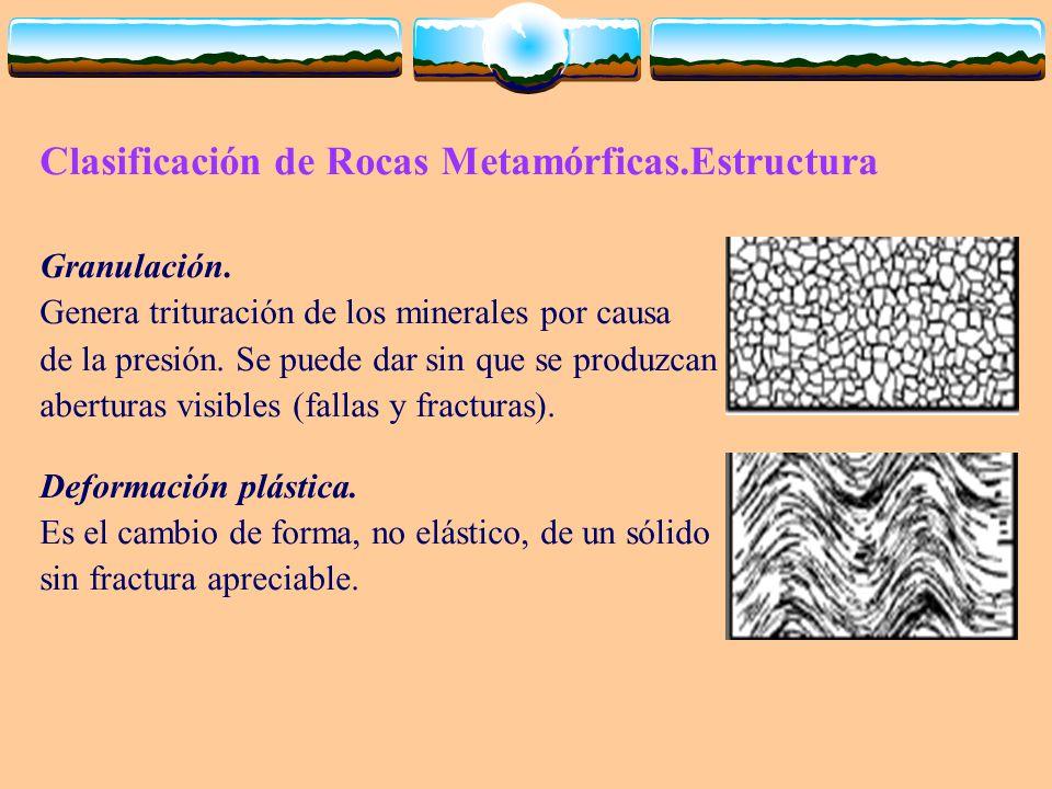 Clasificación de Rocas Metamórficas.Estructura Granulación. Genera trituración de los minerales por causa de la presión. Se puede dar sin que se produ