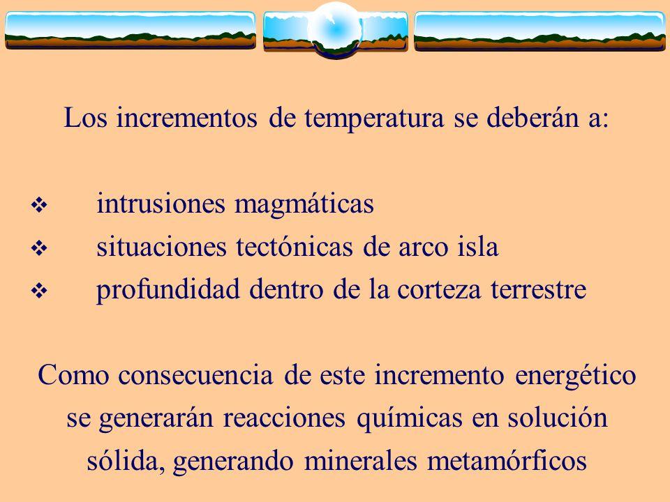 Los incrementos de temperatura se deberán a: intrusiones magmáticas situaciones tectónicas de arco isla profundidad dentro de la corteza terrestre Com