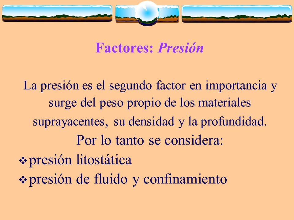 Factores: Presión La presión es el segundo factor en importancia y surge del peso propio de los materiales suprayacentes, su densidad y la profundidad