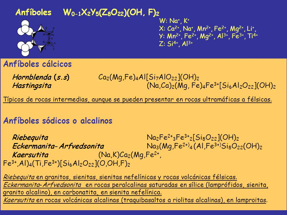 Anfíboles cálcicos Hornblenda (s.s)Ca 2 (Mg,Fe) 4 Al[Si 7 AlO 22 ](OH) 2 Hastingsita(Na,Ca) 2 (Mg, Fe) 4 Fe 3+ [Si 6 Al 2 O 22 ](OH) 2 Típicos de roca