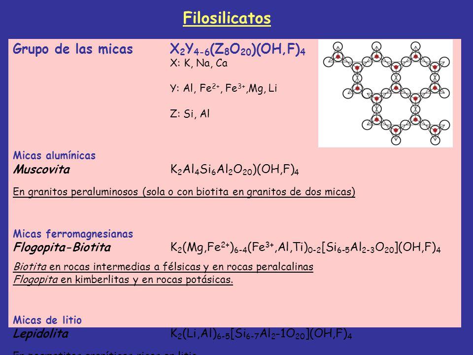 Grupo de las micasX 2 Y 4-6 (Z 8 O 20 )(OH,F) 4 X: K, Na, Ca Y: Al, Fe 2+, Fe 3+,Mg, Li Z: Si, Al Micas alumínicas MuscovitaK 2 Al 4 Si 6 Al 2 O 20 )(