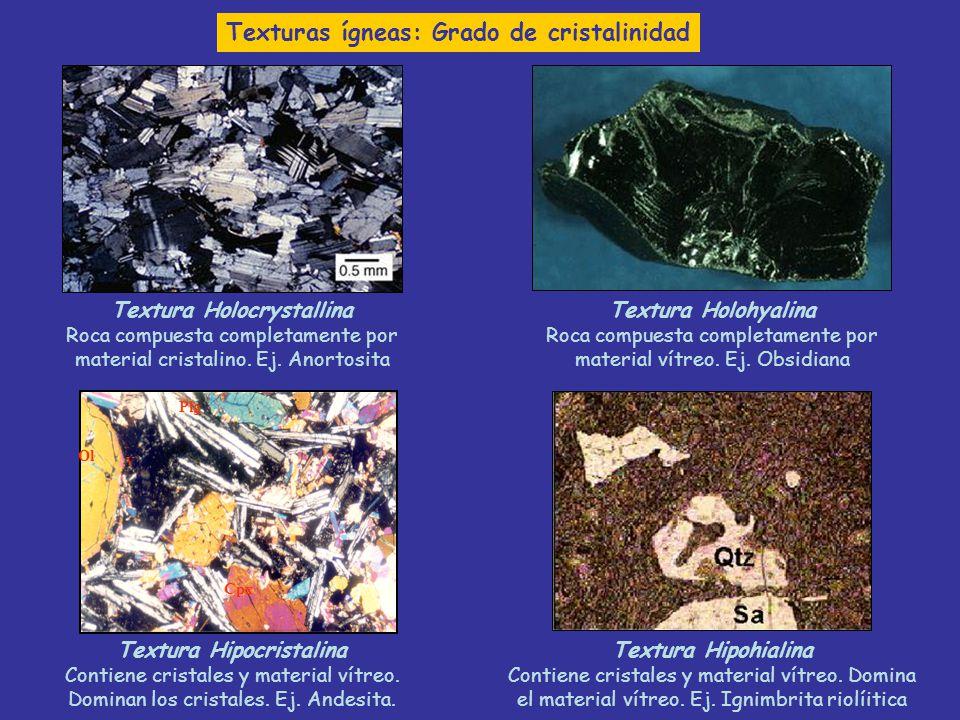 Textura Holocrystallina Roca compuesta completamente por material cristalino. Ej. Anortosita Textura Holohyalina Roca compuesta completamente por mate