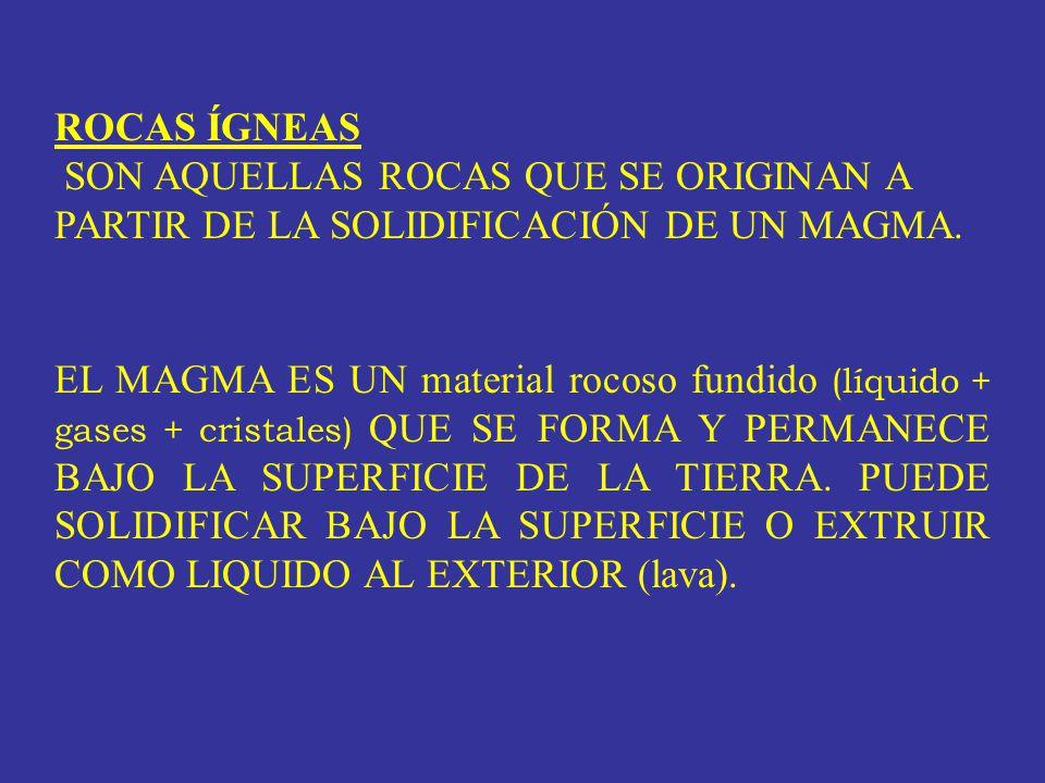LOS CONSTITUYENTES SI O 2 y H 2 O CONTROLAN AMPLIAMENTE LAS PROPIEDADES FÍSICAS DEL MAGMA (densidad, viscosidad, manera de extruir) LOS GASES DISUELTOS (CO 2 y H 2 O; SO 3, H Cl....), QUE PUEDEN LLEGAR HASTA 14 % EN VOLUMEN, CONTROLAN LA EXPLOSIVIDAD EL SiO 2 VARÍA ENTRE EL 33 Y 75 % EN EL MAGMA
