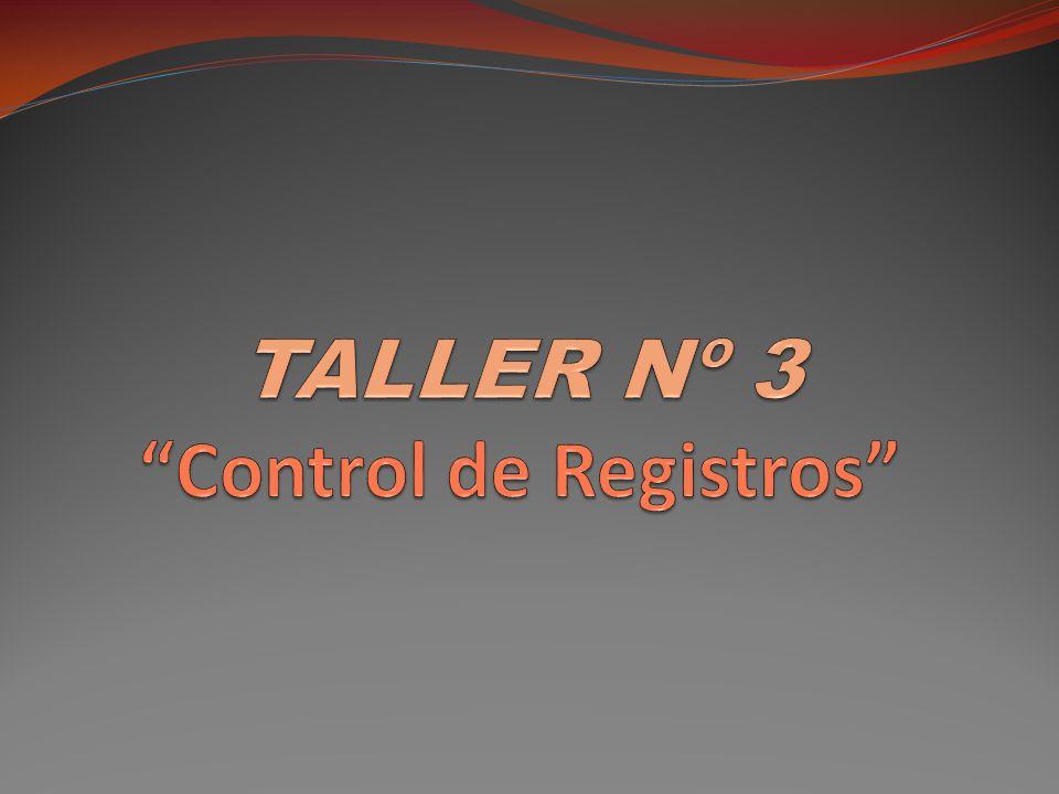 FORMATOS DEL TALLER Control de Registros (F-8314-04).