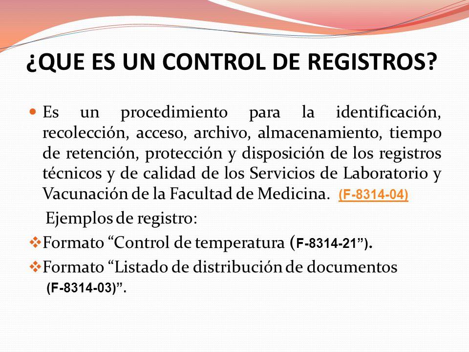 ¿QUE ES UN CONTROL DE REGISTROS? Es un procedimiento para la identificación, recolección, acceso, archivo, almacenamiento, tiempo de retención, protec