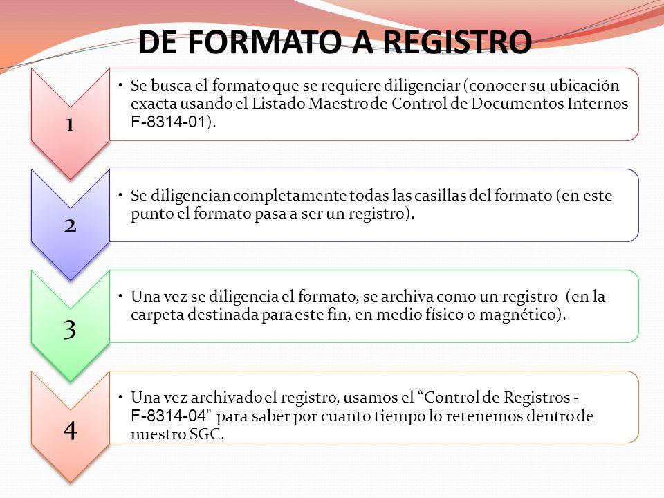 1 Se busca el formato que se requiere diligenciar (conocer su ubicación exacta usando el Listado Maestro de Control de Documentos Internos F-8314-01 )