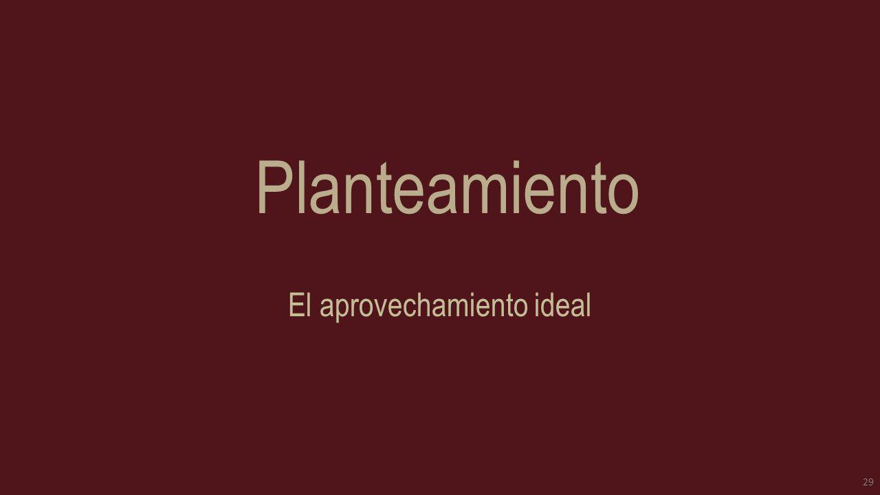 Planteamiento El aprovechamiento ideal 29