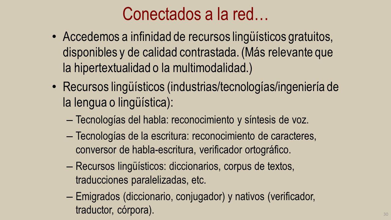 Conectados a la red… Accedemos a infinidad de recursos lingüísticos gratuitos, disponibles y de calidad contrastada. (Más relevante que la hipertextua