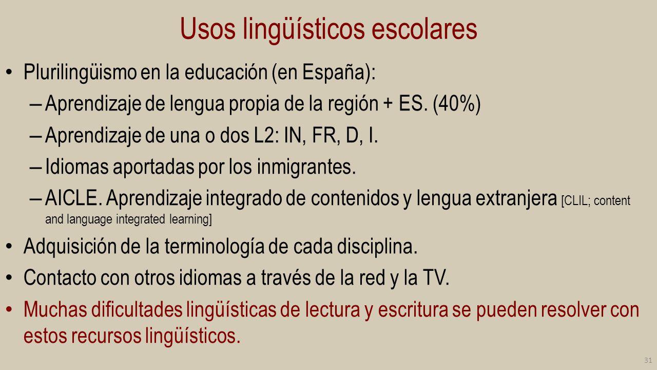 Usos lingüísticos escolares Plurilingüismo en la educación (en España): – Aprendizaje de lengua propia de la región + ES. (40%) – Aprendizaje de una o