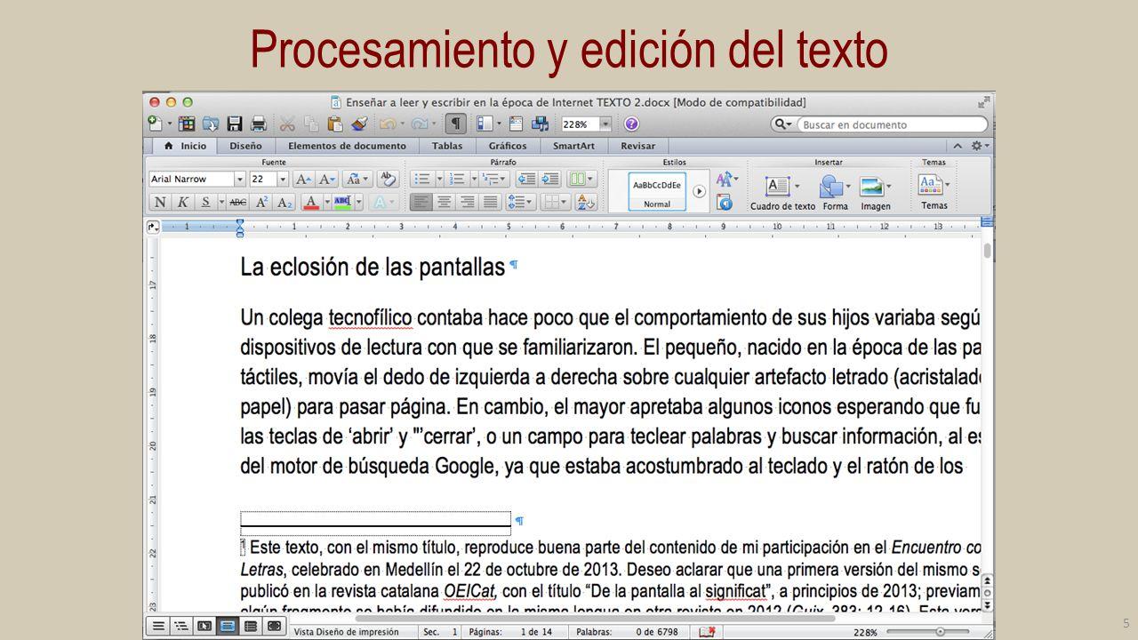 Procesamiento y edición del texto 5
