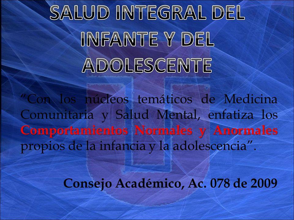 Comportamientos Normales y Anormales Con los núcleos temáticos de Medicina Comunitaria y Salud Mental, enfatiza los Comportamientos Normales y Anormales propios de la infancia y la adolescencia.