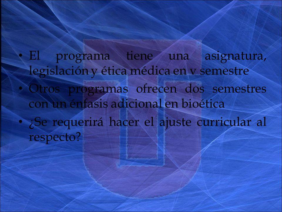 El programa tiene una asignatura, legislación y ética médica en v semestre Otros programas ofrecen dos semestres con un énfasis adicional en bioética ¿Se requerirá hacer el ajuste curricular al respecto