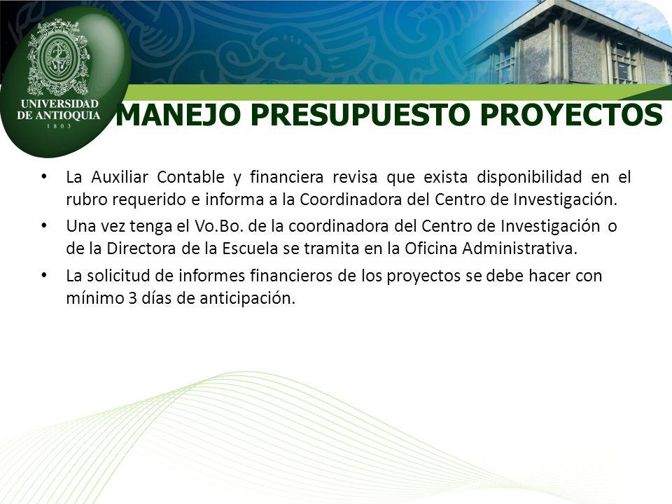 La Auxiliar Contable y financiera revisa que exista disponibilidad en el rubro requerido e informa a la Coordinadora del Centro de Investigación. Una