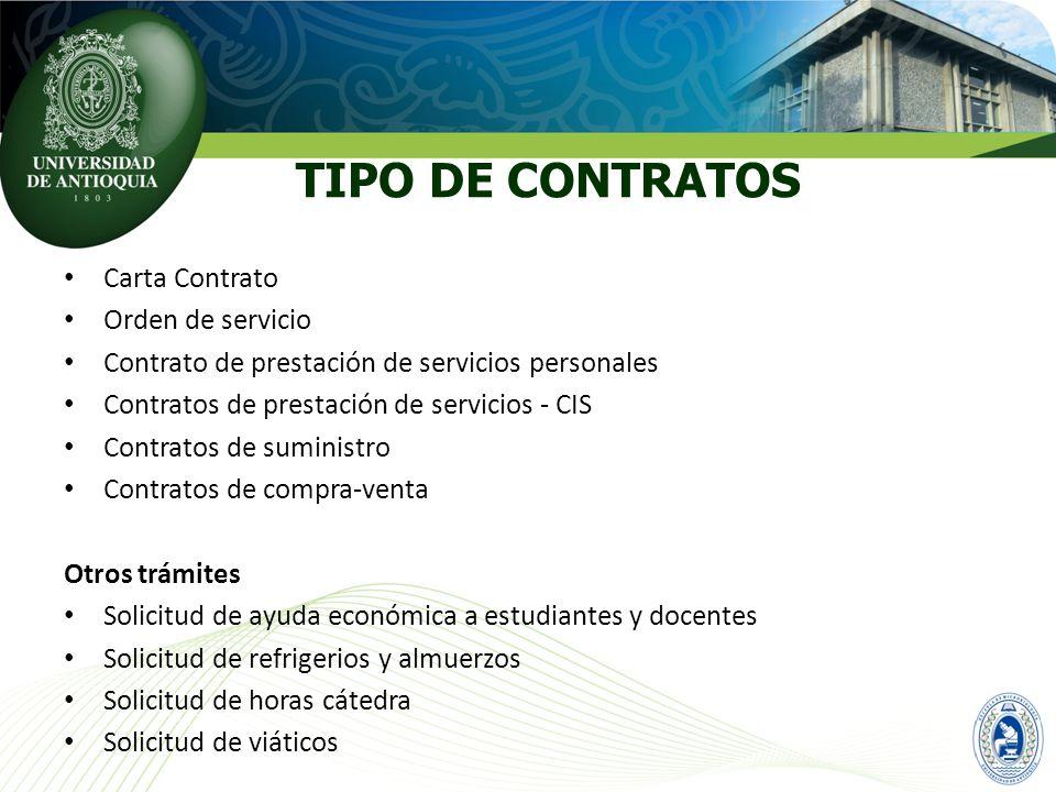 Carta Contrato Orden de servicio Contrato de prestación de servicios personales Contratos de prestación de servicios - CIS Contratos de suministro Con