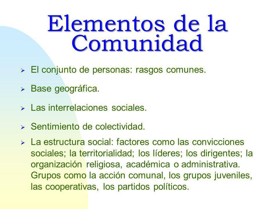 Elementos de la Comunidad El conjunto de personas: rasgos comunes.