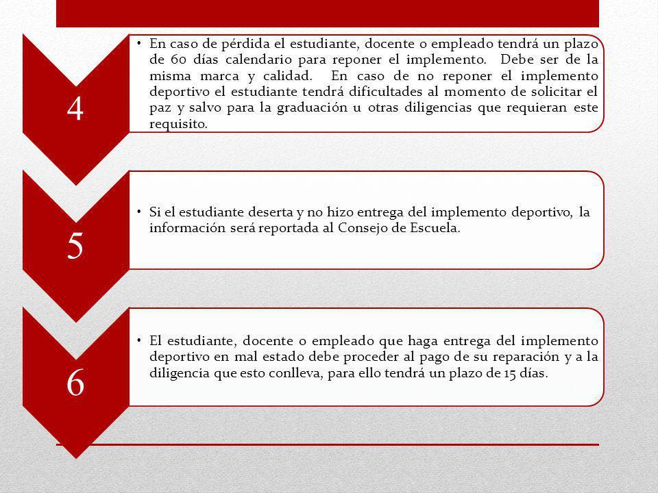 4 En caso de pérdida el estudiante, docente o empleado tendrá un plazo de 60 días calendario para reponer el implemento. Debe ser de la misma marca y