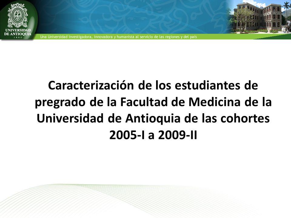 Caracterización de los estudiantes de pregrado de la Facultad de Medicina de la Universidad de Antioquia de las cohortes 2005-I a 2009-II
